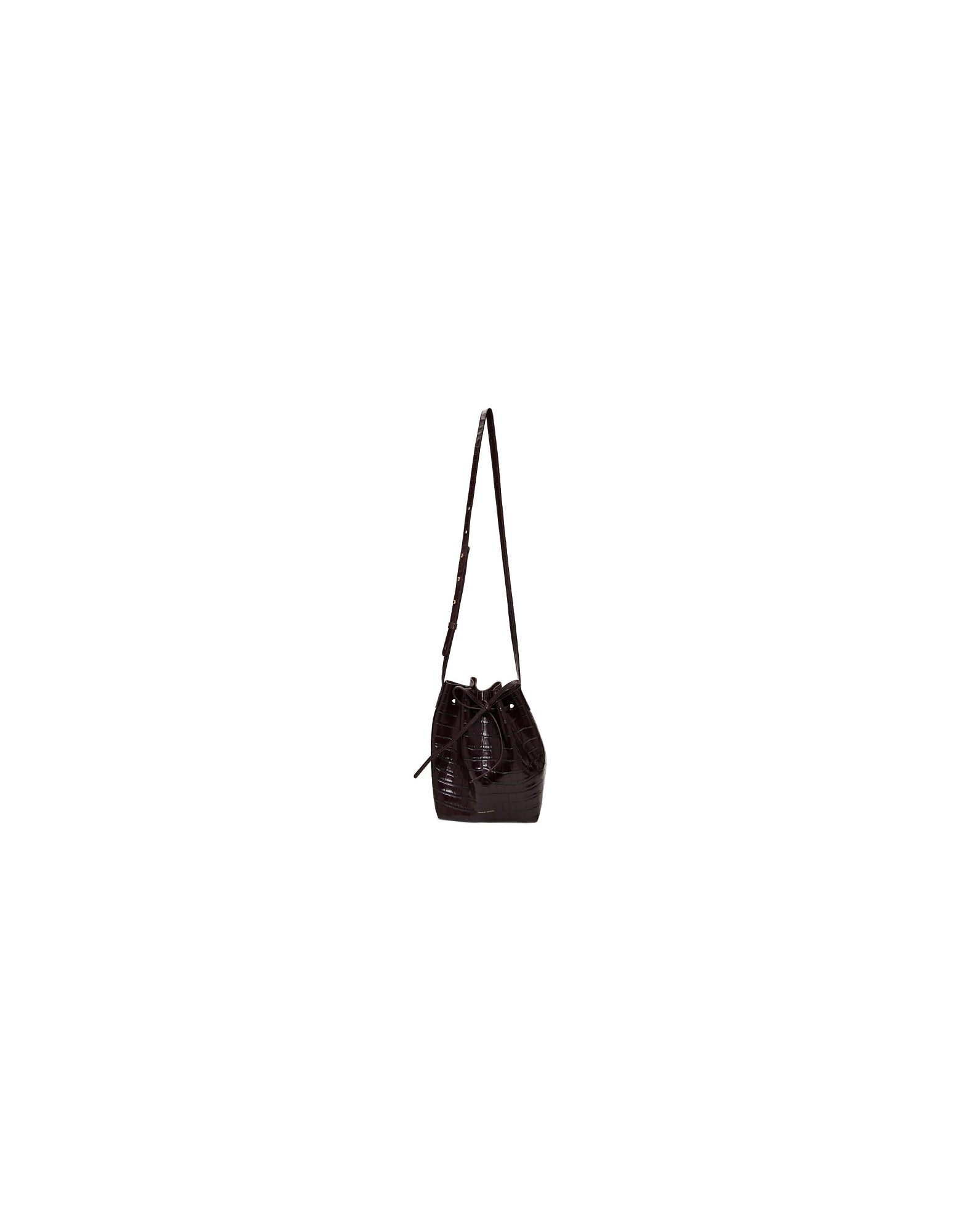 Mansur Gavriel Designer Handbags, Burgundy Croc Mini Bucket Bag