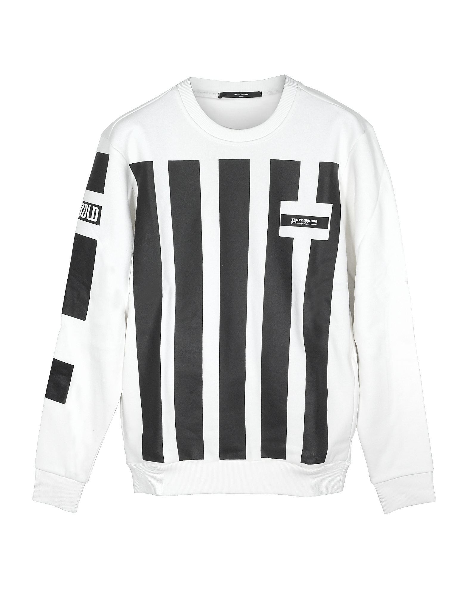 Takeshy Kurosawa Designer Sweatshirts, White and Black Striped Cotton Men's Sweater