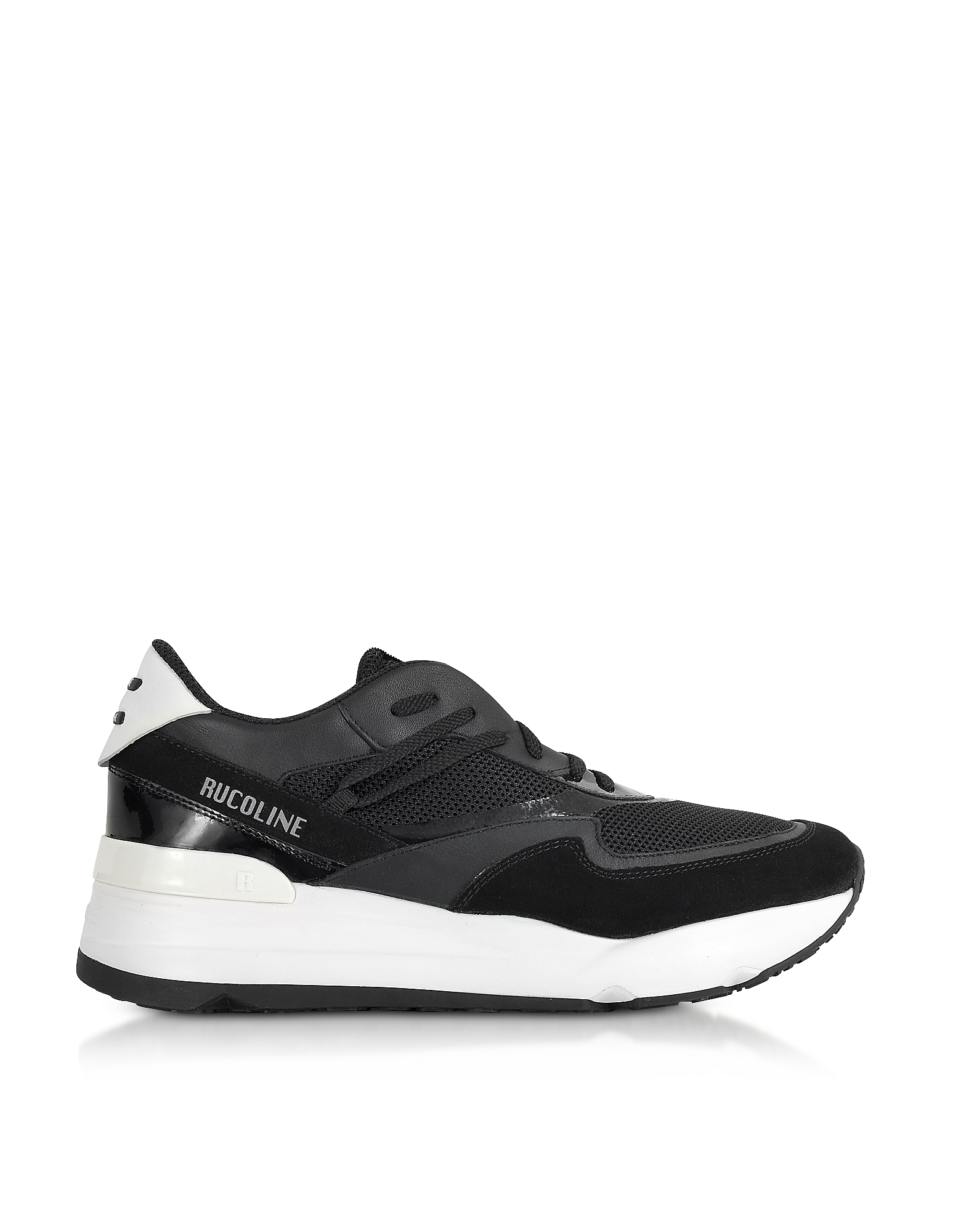 Rucoline Designer Shoes, Black Nylon and Leather R-Evolve Men's Sneakers