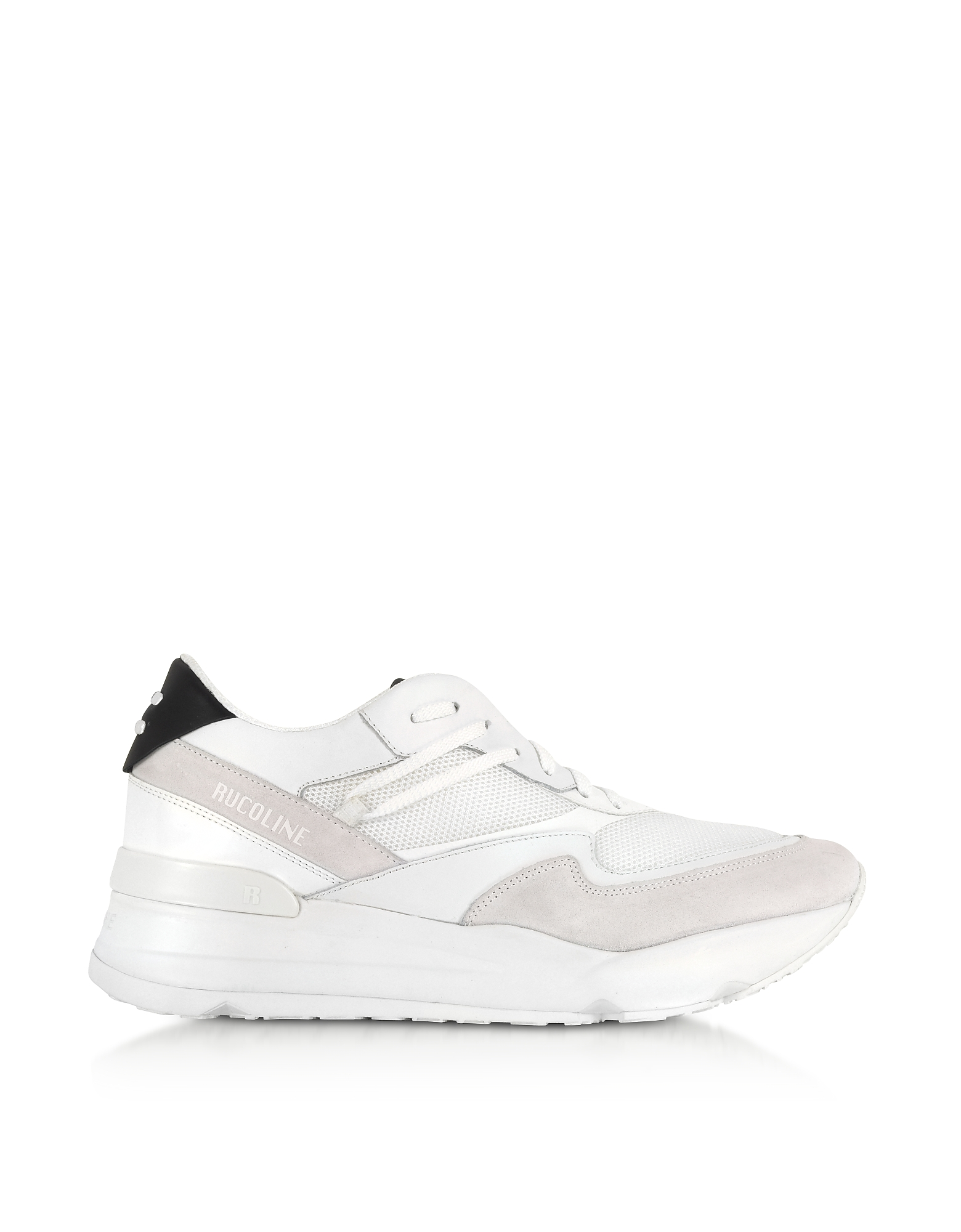 Rucoline Designer Shoes, White Nylon and Leather R-Evolve Men's Sneakers