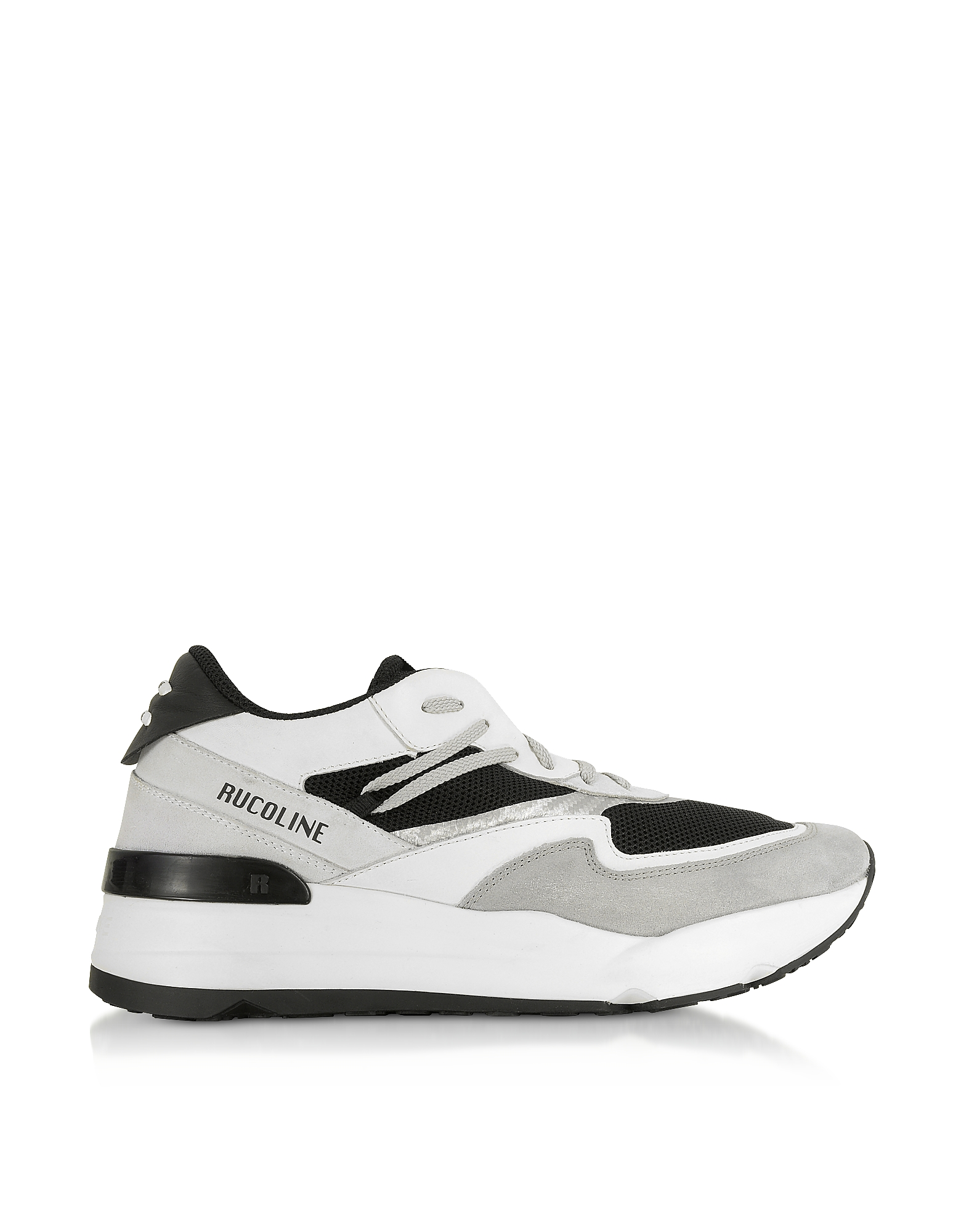Rucoline Designer Shoes, Black & White Nylon and Leather R-Evolve Men's Sneakers