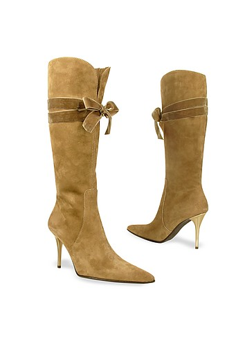 Luana Vallesi Camel Velvet Bow Suede High-heel Boots