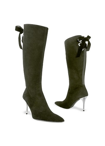Luana Vallesi Black Velvet Lacing Suede High-heel Boots