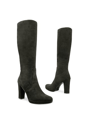 Luana Vallesi Black Suede High-Heel Platform Boots