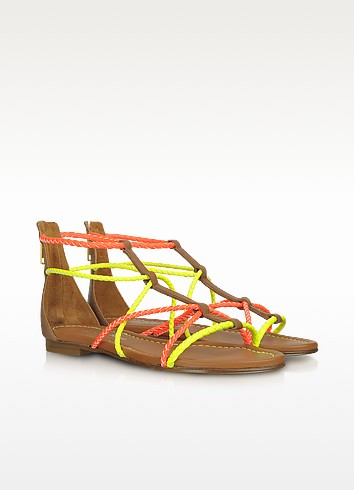 Jamaica - Neon Yellow and Orange Braided Leather Flat Sandals - Visconti & du Réau