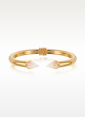 Rose Gold Plated Mini Titan Stone Bracelet w/Rose Quartz  - Vita Fede