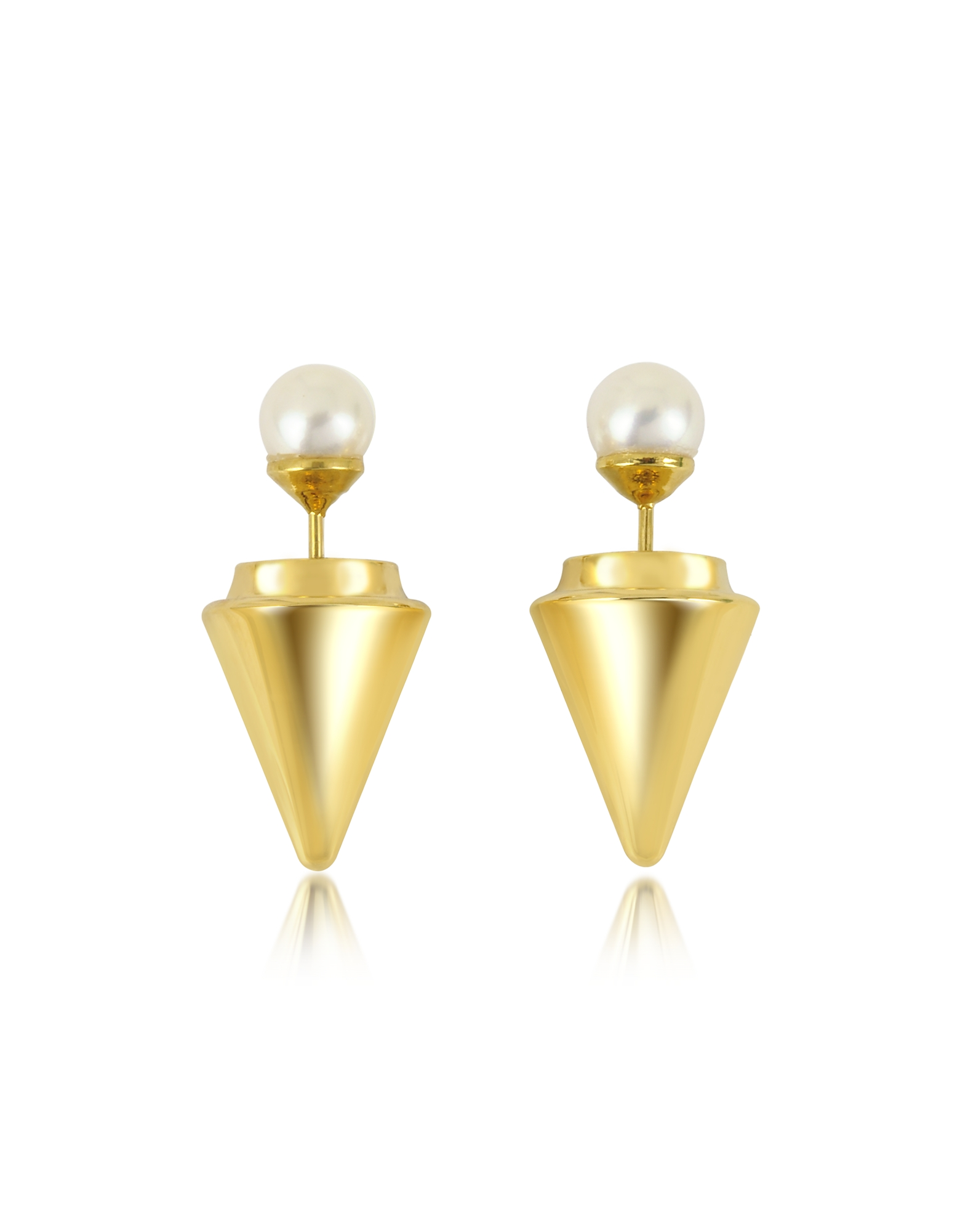 Vita Fede Earrings, Gold Plated Double Titan Pearl Earrings w/Akoya Pearls