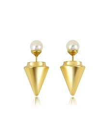 Gold Plated Double Titan Pearl Earrings w/Akoya Pearls - Vita Fede