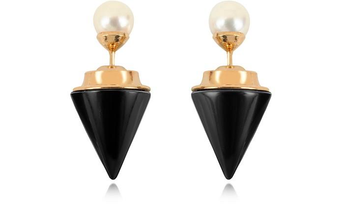 Boucles d'Oreilles Noires en Plaqué Or et Perles d'Akoya - Vita Fede