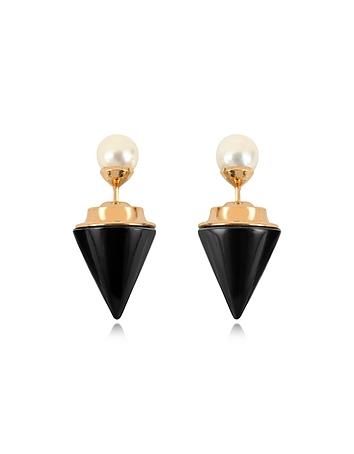 Vita Fede - Double Titan Stone Pearl Earrings w/Akoya Pearls