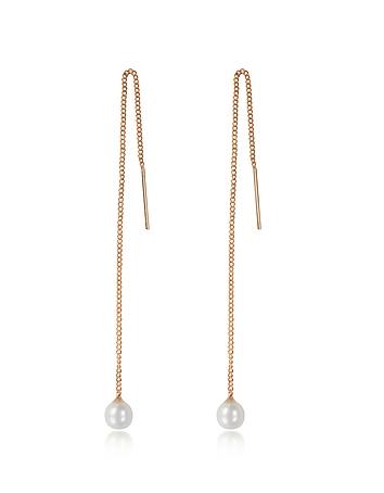 Vita Fede - Pearl Thread Rose Gold Tone Earrings