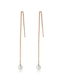 Pearl Thread Rose Gold Tone Earrings - Vita Fede