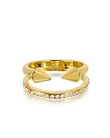 Ultra Mini Gold Tone Titan Band Ring w/Crystals - Vita Fede