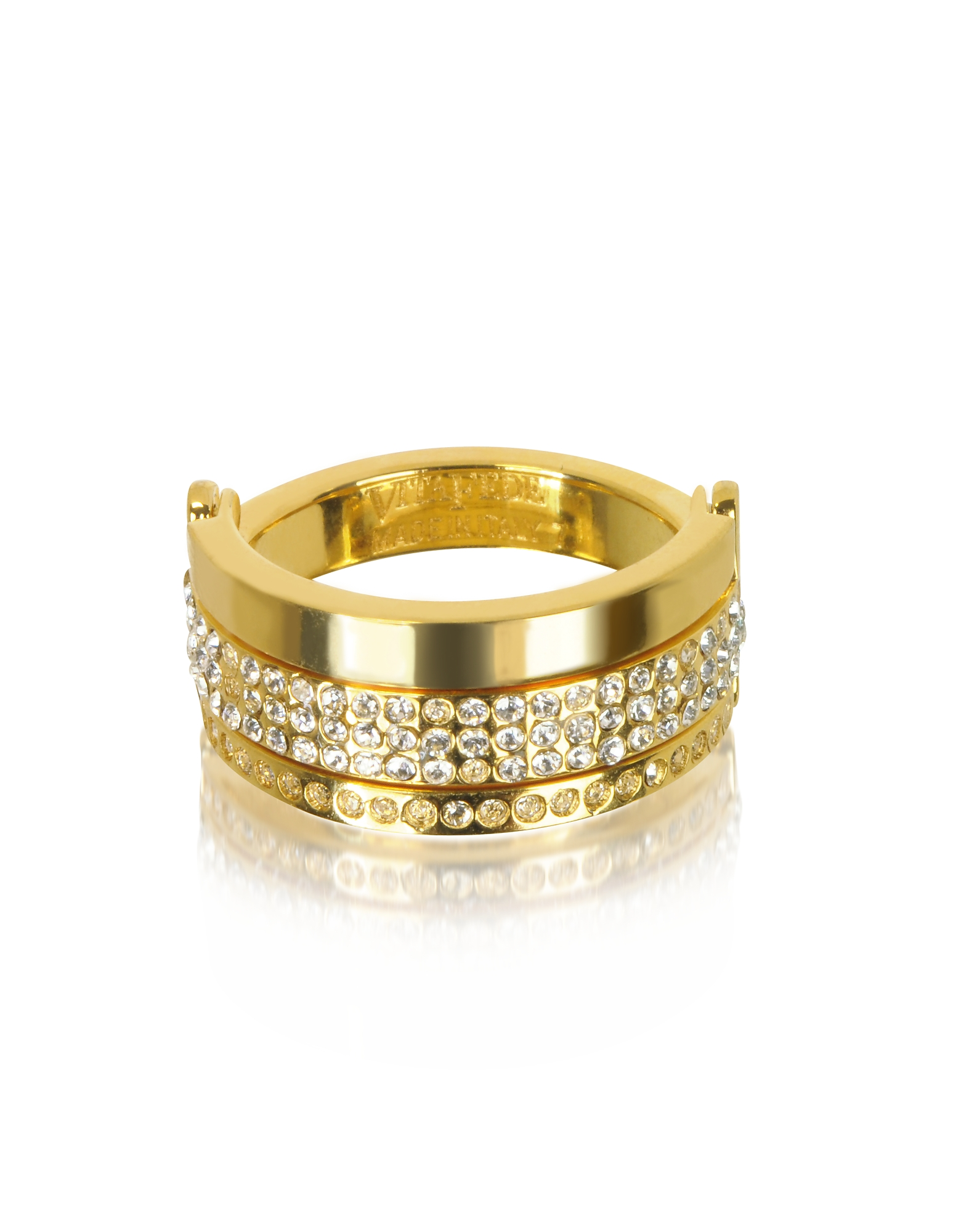 Vita Fede Rings, Bardot Gold Tone Ring w/Crystals