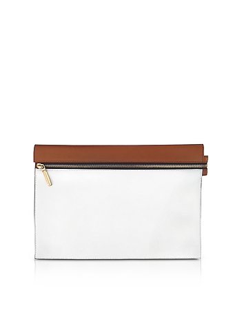 Victoria Beckham - White and Cognac Leather Zip Pouch