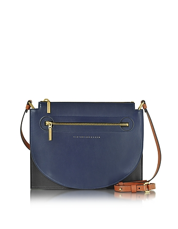 Victoria Beckham - Color Block Leather Moon Light Crossbody Bag