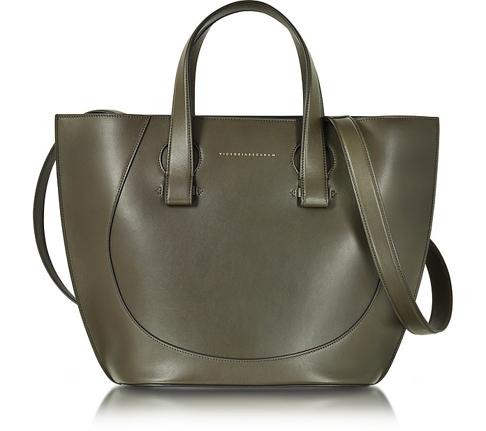 Khaki Leather Small Tulip Tote - Victoria Beckham
