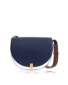 Navy Blue, White and Ebony Half Moon Box Shoulder Bag - Victoria Beckham