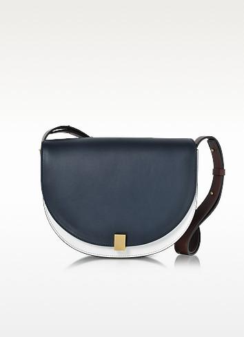 Navy Blue, White and Ebony Half Moon Box Shoulder Bag - Victoria Beckham