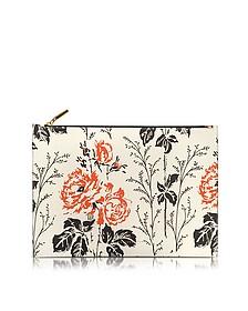 Simple Pouch Tasche aus Leder mit Blumenprint - Victoria Beckham