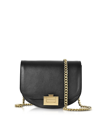 Black Leather Box With Chain Shoulder Bag vh130217-016-00