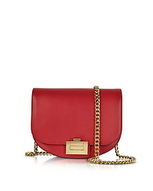 Cherry Leather Box With Chain Shoulder Bag - Victoria Beckham