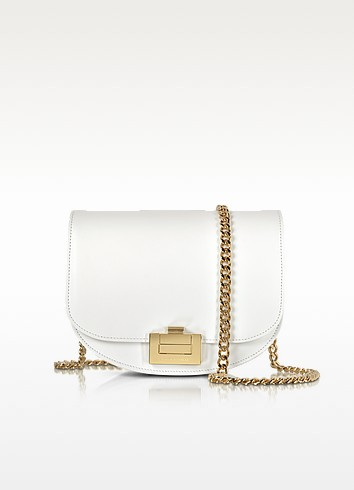Optic White Leather Box With Chain Shoulder Bag - Victoria Beckham