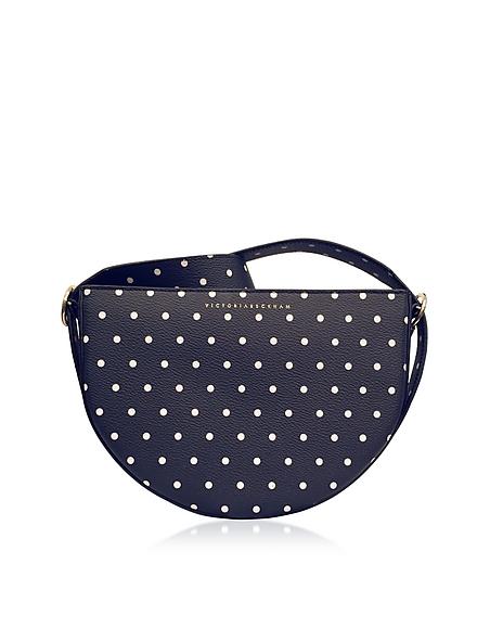 Foto Victoria Beckham Half Moon Bag in Pelle Blu Navy a Pois con Tracolla Borse donna