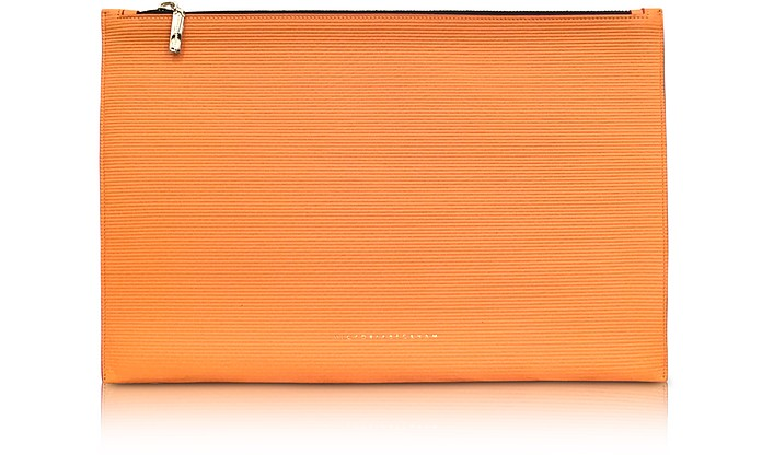 Pumpkin Embossed Grained Leather Large Simple Pouch - Victoria Beckham