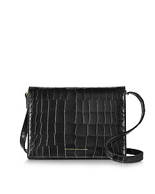 Black Printed Shiny Croco Leather Star Shoulder Bag - Victoria Beckham