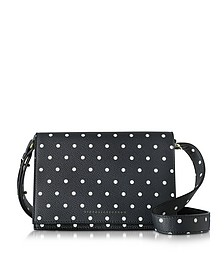 Printed Pois Navy and Black Mini Shoulder Bag - Victoria Beckham
