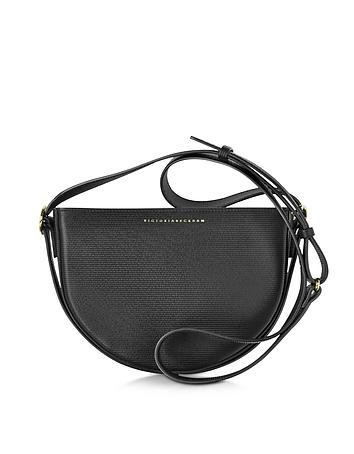 Black Embossed Leather Baby Half Moon Bag