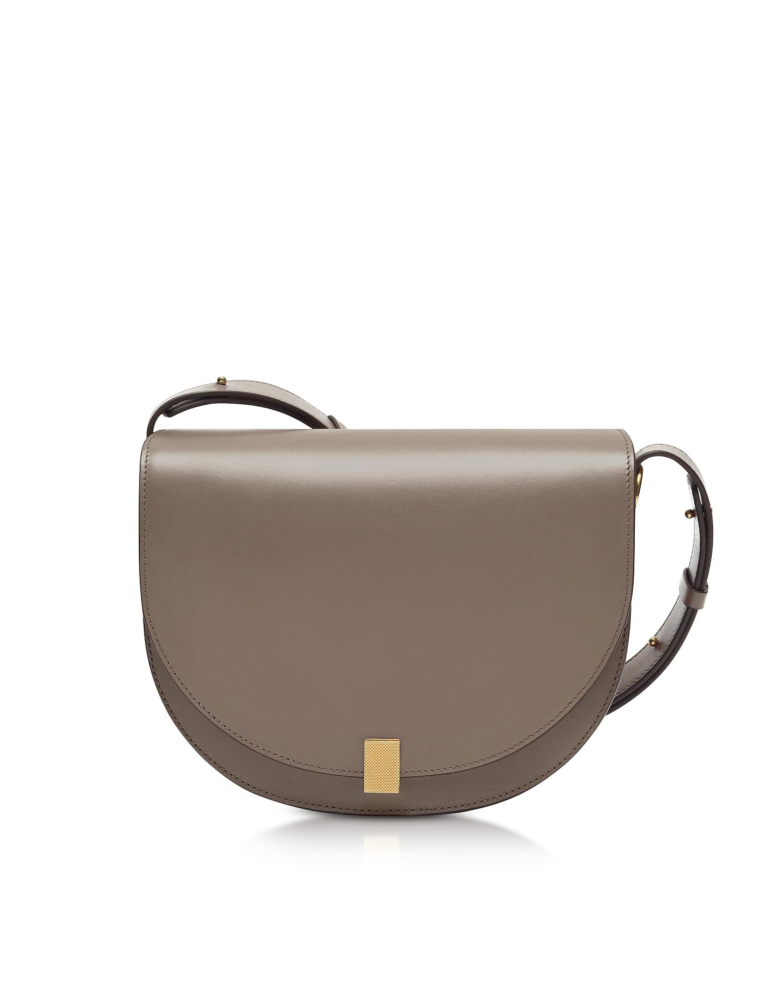 Dove Grey Leather Half Moon Box Shoulder Bag