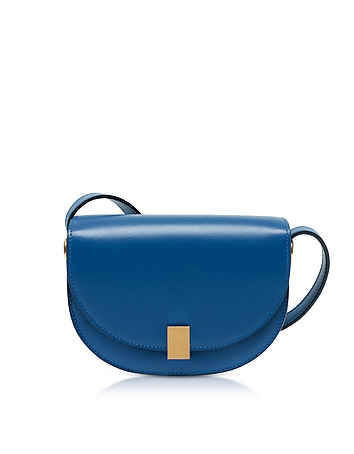 Victoria Beckham - Sky Blue Leather Nano Half Moon Box Crossbody Bag