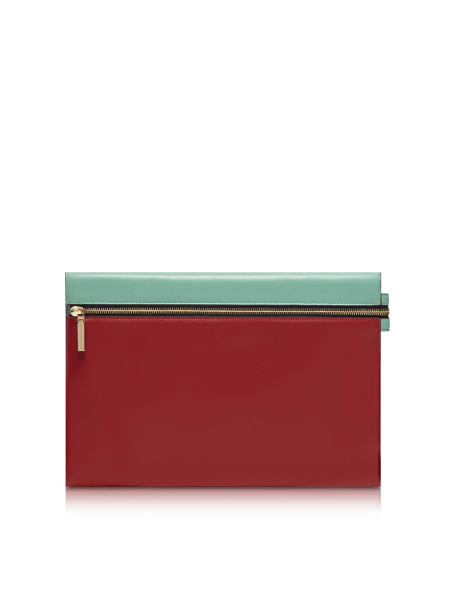 Victoria Beckham Handbags, Colorblock Leather Large Zip Pouch