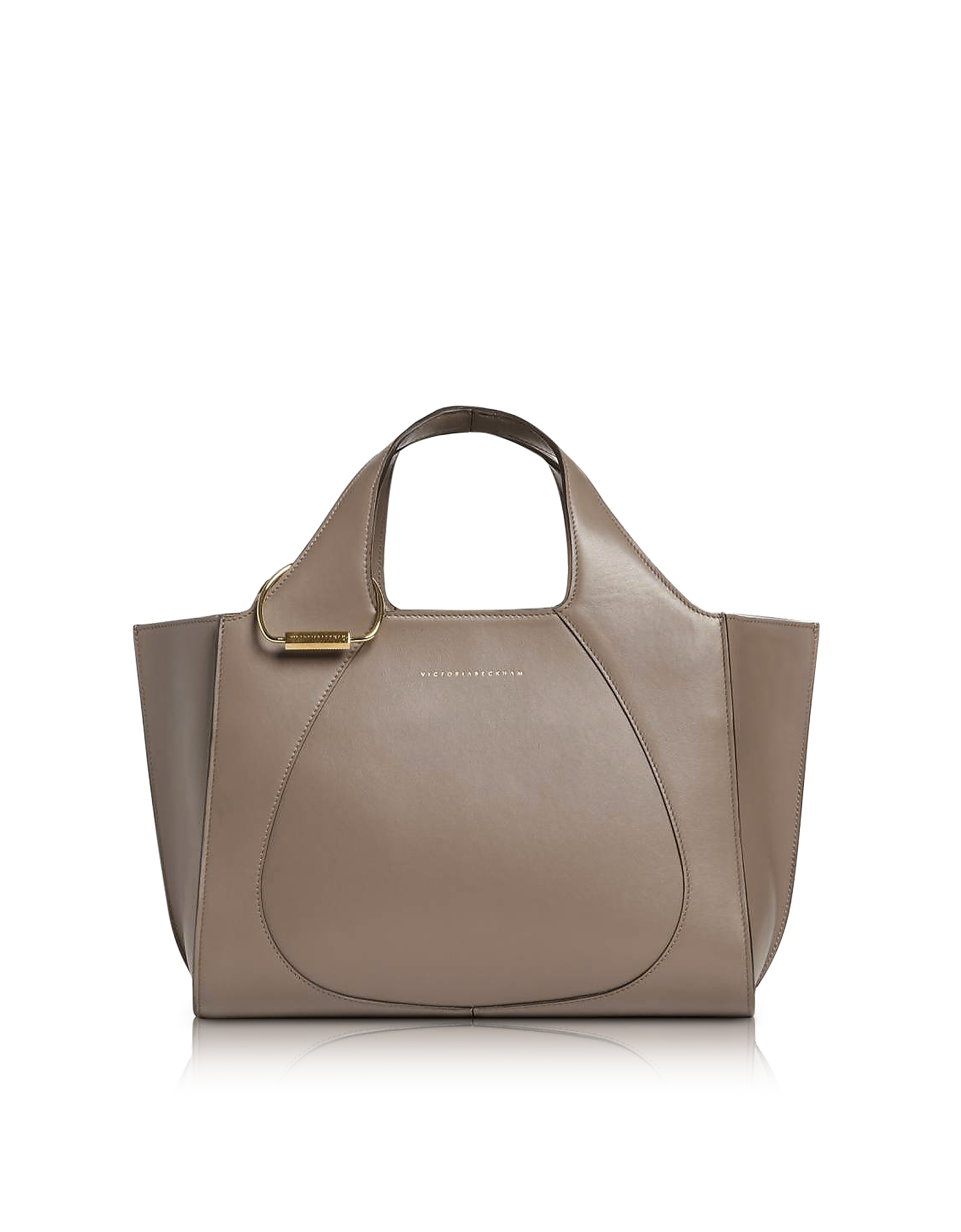 Dove Grey Leather Small Newspaper Tote Bag