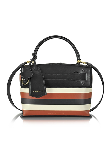 Foto Victoria Beckham Small Picnic Bag Borsa in Pelle a Righe Multicolor Borse donna