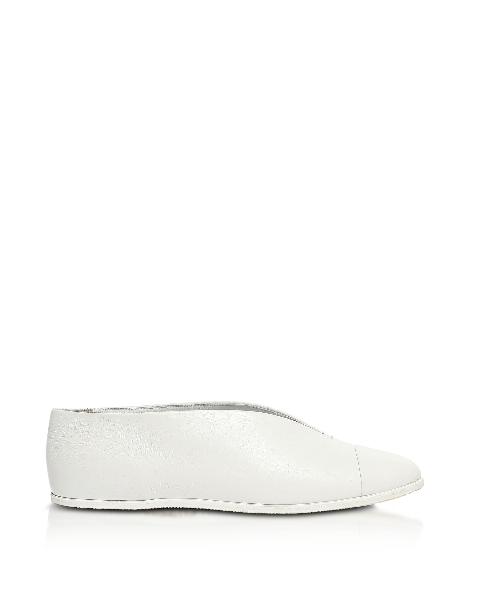 Victoria Beckham Shoes, White Leather Flat Shoe