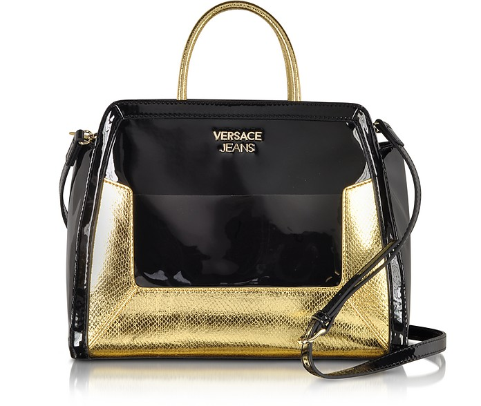 Black Patent Eco Leather and Gold Python Stamped Satchel - Versace Jeans