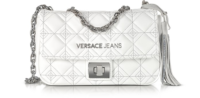 White Quilted and Embroidered Crossbody Bag - Versace Jeans