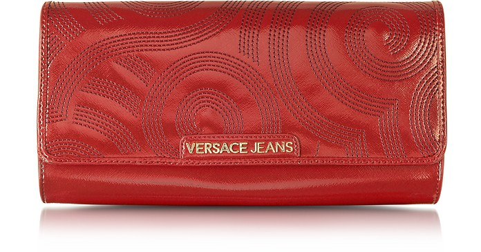 Dark Red Patent Eco-Leather Large Clutch - Versace Jeans