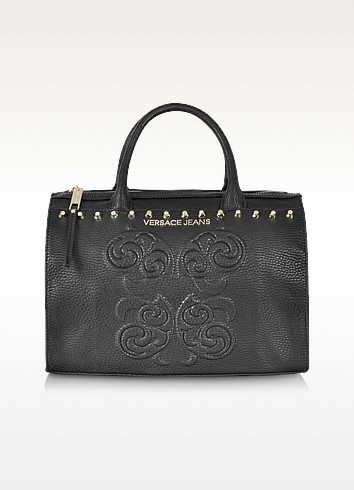 Black Studded and Embroidered Eco-Leather Bowling Bag - Versace Jeans