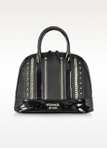 Black Eco Leather Satchel w/Gold Tone Studs and Chains - Versace Jeans