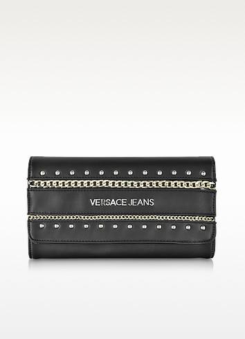 Black Eco Leather Clutch w/Shoulder Strap - Versace Jeans