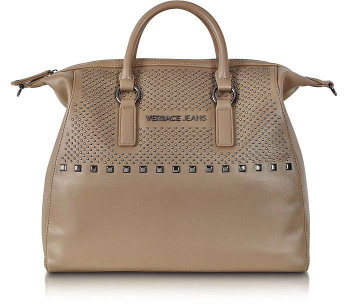 Taupe Eco Leather Large Tote w/Studs - Versace Jeans