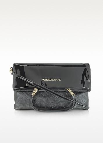 Black Patent Eco Leather Foldover Shoulder Bag - Versace Jeans