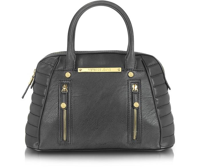 Black Eco Leather Bowler Bag - Versace Jeans