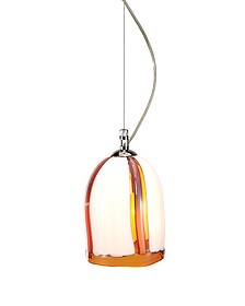 Bamboo - Cream and Amber Murano Handmade Glass Pendant Lamp  - Voltolina