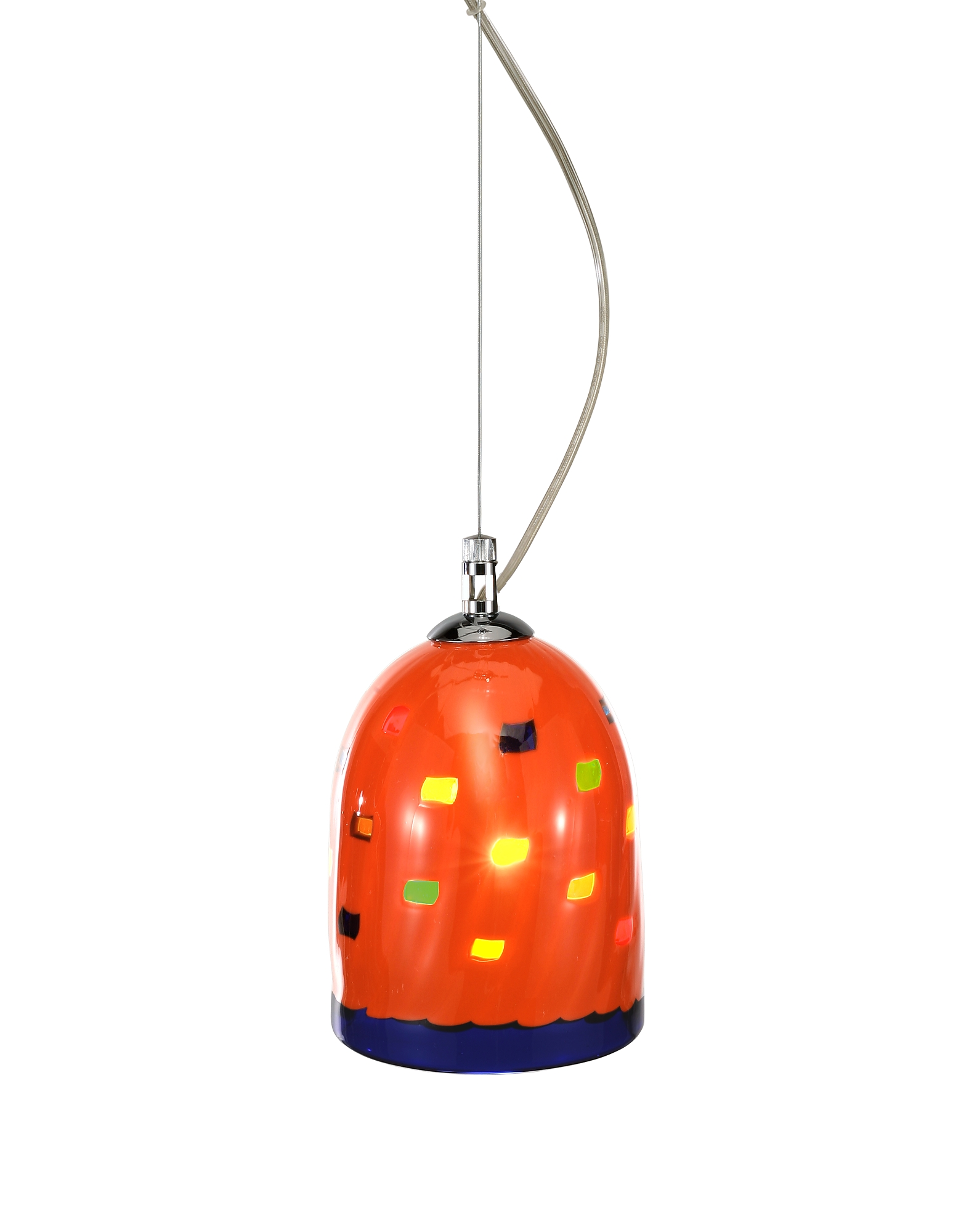Voltolina Designer Decor & Lighting, Mega Rancio - Orange Murano Handmade Glass Pendant Lamp