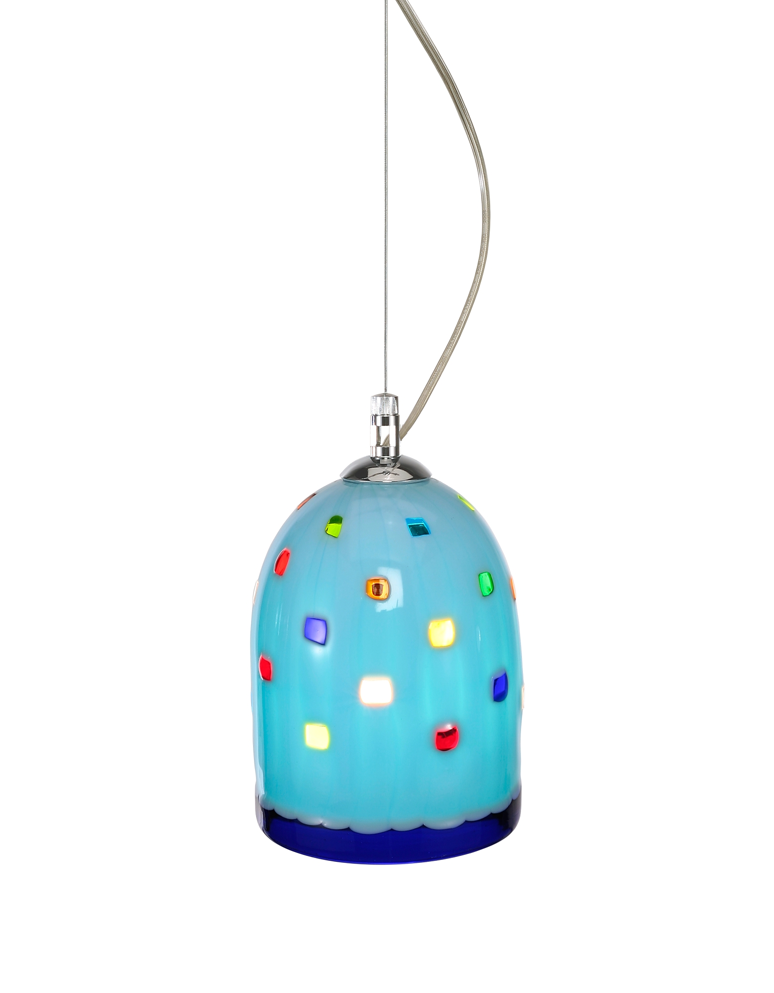 Voltolina Designer Decor & Lighting, Meg - Sky Blue Murano Handmade Glass Pendant Lamp